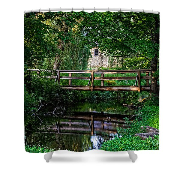 View Of The Grist Mill At Waterloo Village Shower Curtain