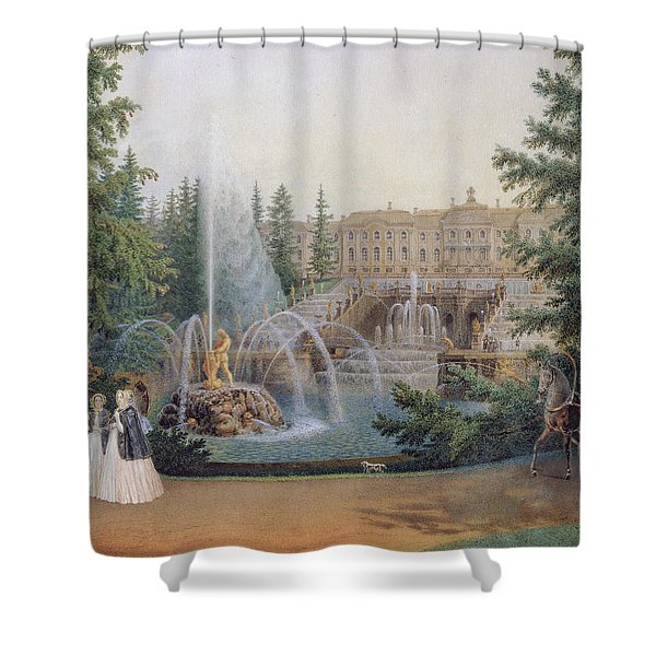 View Of The Marly Cascade From The Lower Garden Of The Peterhof Palace Shower Curtain