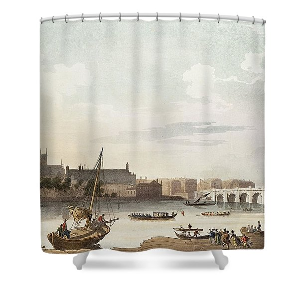 View Of Westminster And The Bridge Wc On Paper Shower Curtain
