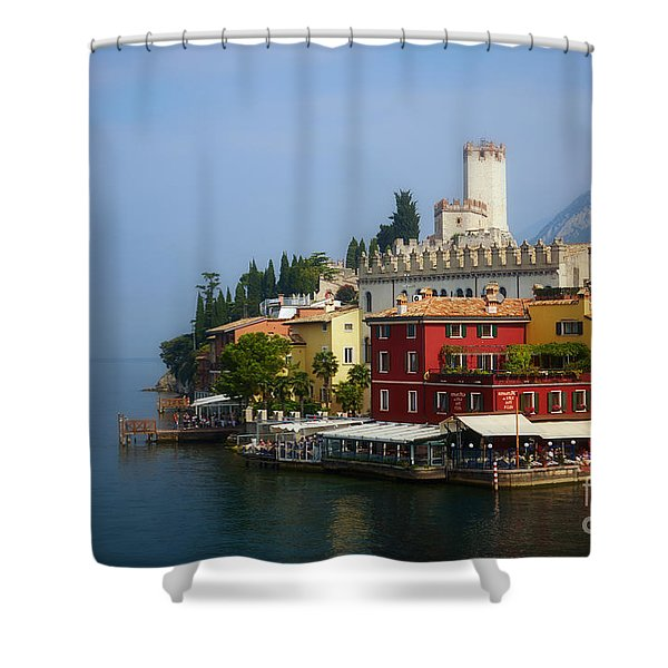 Village Near The Water With Alps In The Background  Shower Curtain