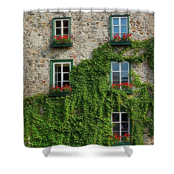 Vine Covered Stone House And Windows Shower Curtain