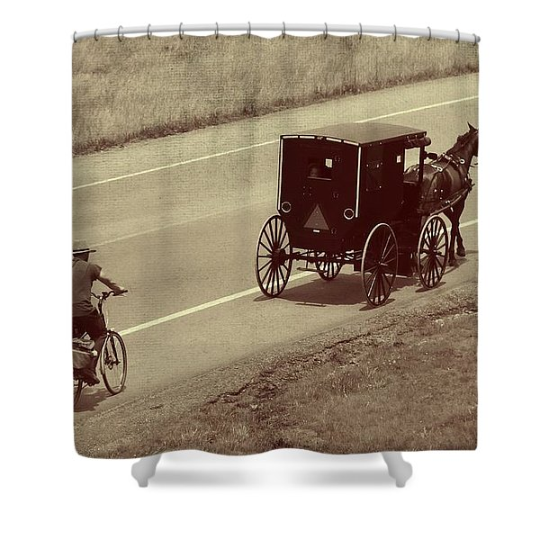 Vintage Amish Buggy And Bicycle Shower Curtain