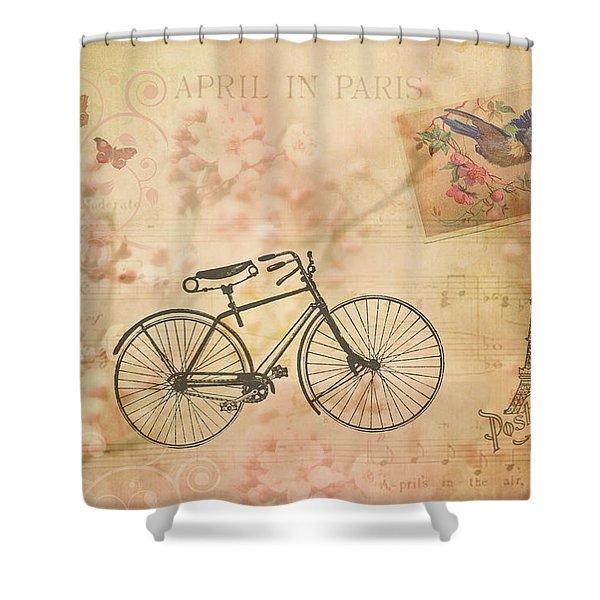 Vintage April In Paris Shower Curtain