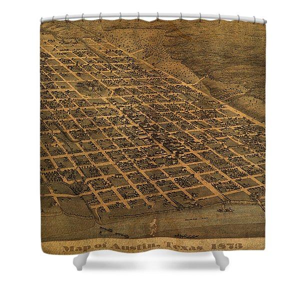 Vintage Austin Texas In 1873 City Map On Worn Canvas Shower Curtain