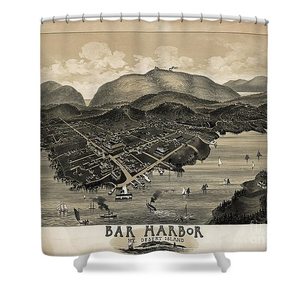 Shower Curtain featuring the photograph Vintage Bar Harbor Map by Pd