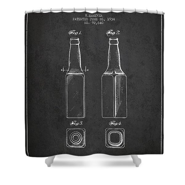 Vintage Beer Bottle Patent Drawing From 1934 - Dark Shower Curtain