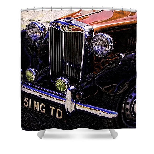 Vintage Car Art 51 Mg Td Copper Shower Curtain