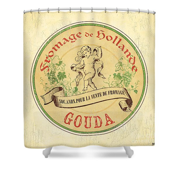 Vintage Cheese Label 2 Shower Curtain