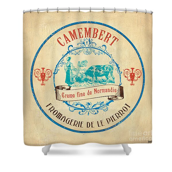 Vintage Cheese Label 3 Shower Curtain