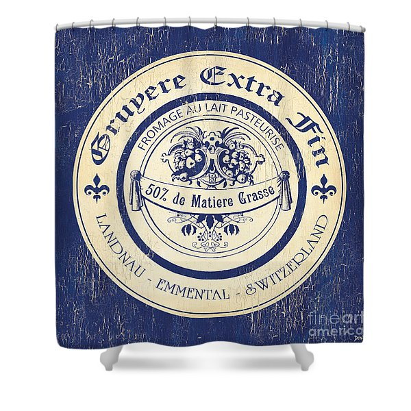 Vintage Cheese Label 5 Shower Curtain