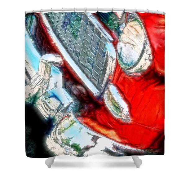 Vintage Chevy Art Alley Cat 3 Red Shower Curtain
