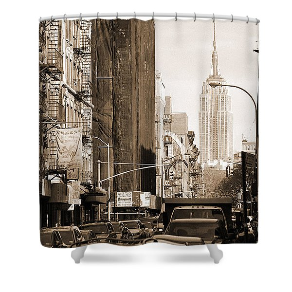 Vintage Chinatown And Empire State Shower Curtain