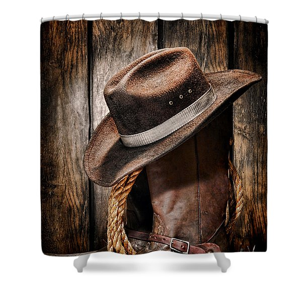 Vintage Cowboy Boots Shower Curtain