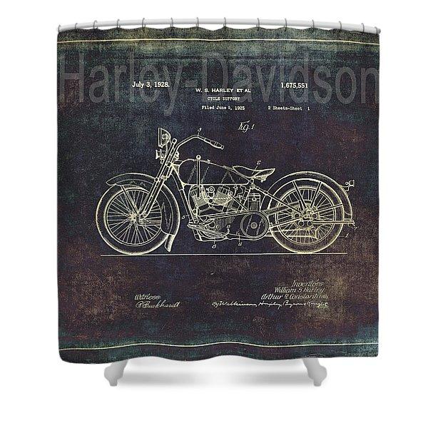 Vintage Harley - Davidson Motorcycle Patent Drawing Shower Curtain