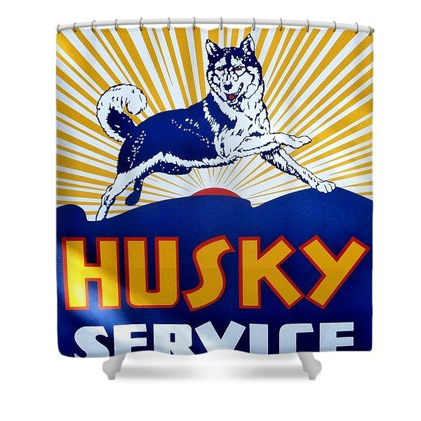 Vintage Husky Sign Shower Curtain