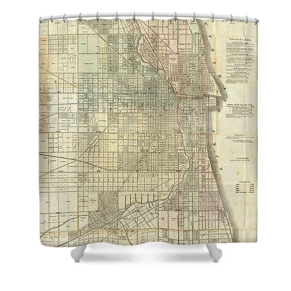 Vintage Map Of Chicago - 1857 Shower Curtain