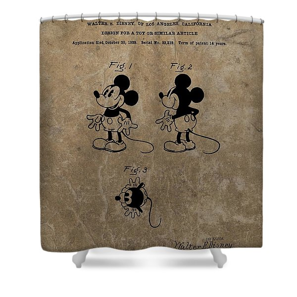 Vintage Mickey Mouse Patent Shower Curtain