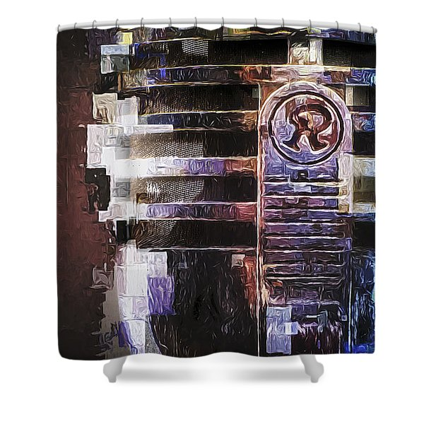 Vintage Microphone Painted Shower Curtain