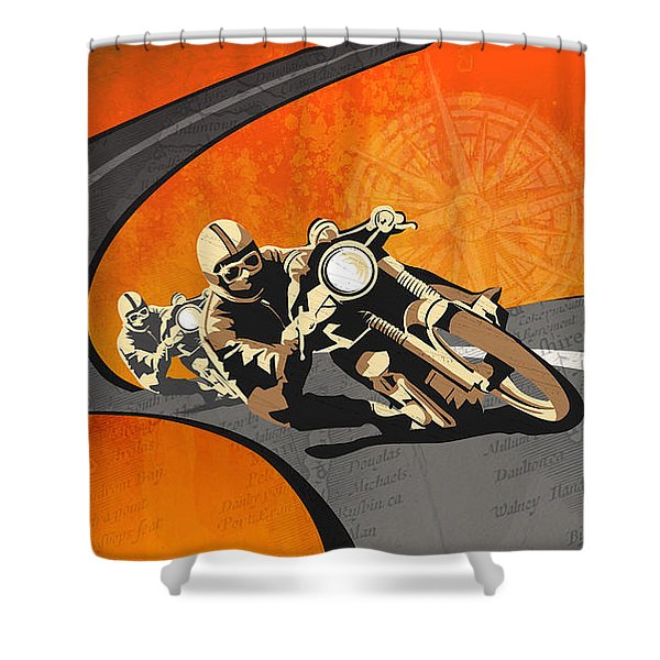 Vintage Motor Racing  Shower Curtain