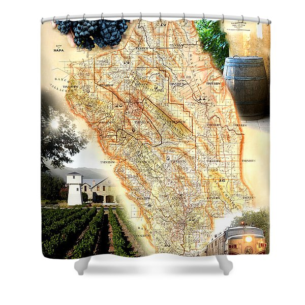 Vintage Napa Valley Map Shower Curtain