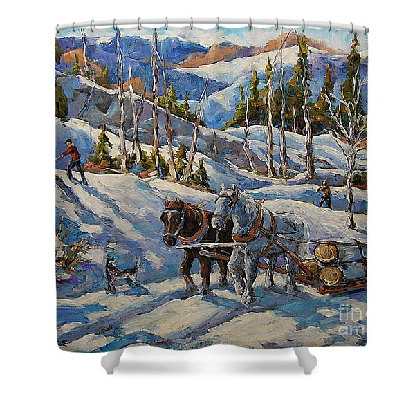 Vintage New England Loggers By Prankearts Shower Curtain