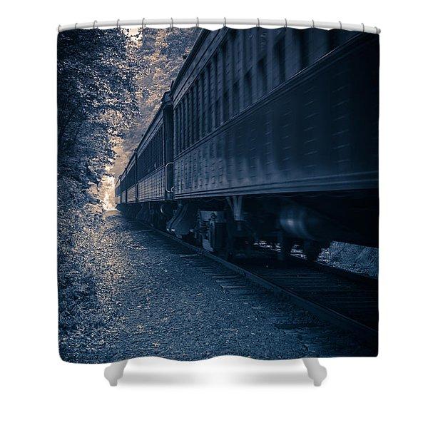 Vintage Passenger Train Cars Shower Curtain