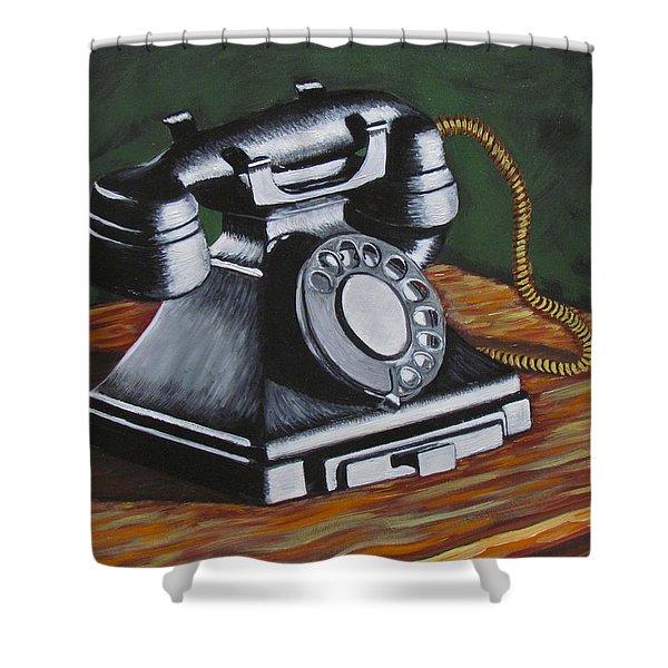 Vintage Phone 2 Shower Curtain