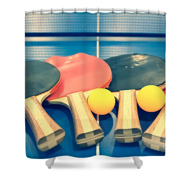 Vintage Ping-pong Bats Table Tennis Paddles Rackets Shower Curtain