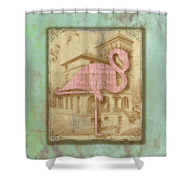 Vintage Pink Flamingo-2 Shower Curtain