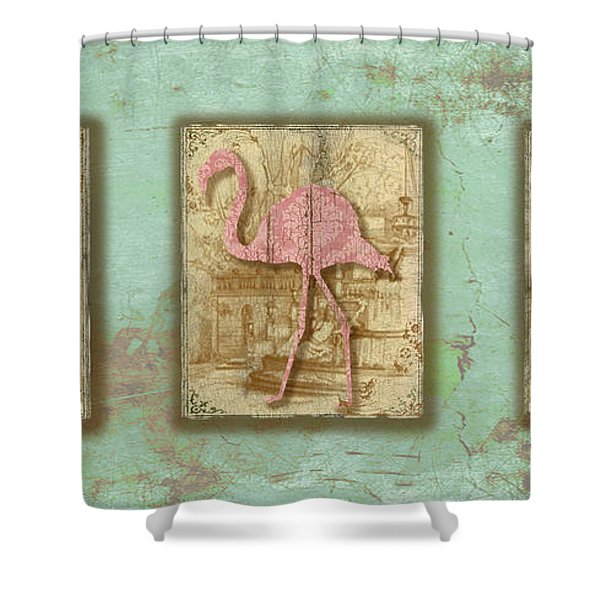 Vintage Pink Flamingo Trio-b Shower Curtain