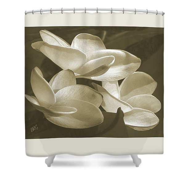 Vintage Plumeria Trio Shower Curtain