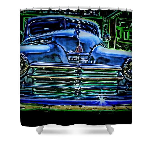 Vintage Plymouth Navy Metalic Art Shower Curtain
