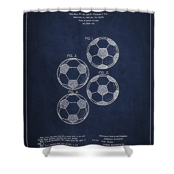 Vintage Soccer Ball Patent Drawing From 1964 Shower Curtain