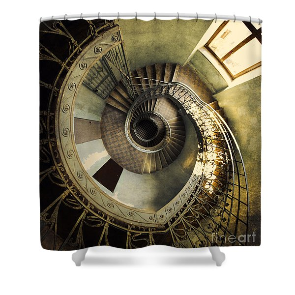 Shower Curtain featuring the photograph Vintage Spiral Staircase by Jaroslaw Blaminsky