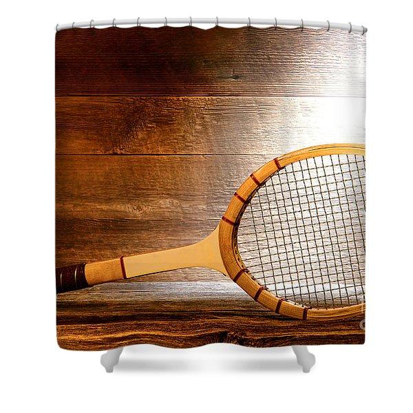 Vintage Tennis Racket Shower Curtain