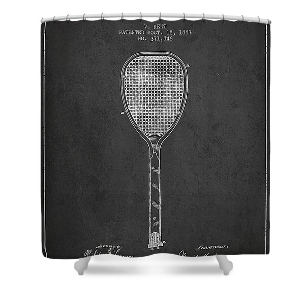 Vintage Tennnis Racket Patent Drawing From 1887-dark Shower Curtain