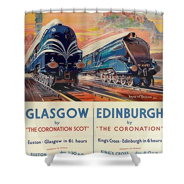 Vintage Train Travel - Glasgow And Edinburgh Shower Curtain
