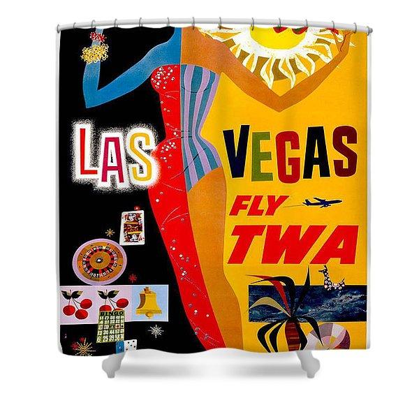 Vintage Travel Poster - Las Vegas Shower Curtain