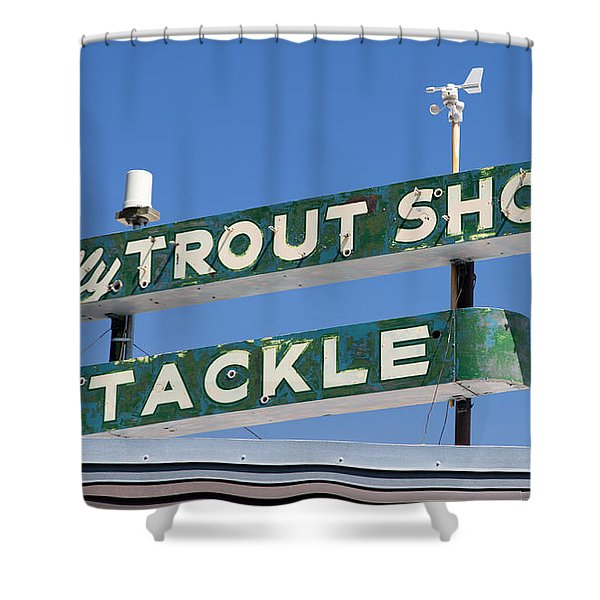 Vintage Trout Shop Sign West Yellowstone Shower Curtain