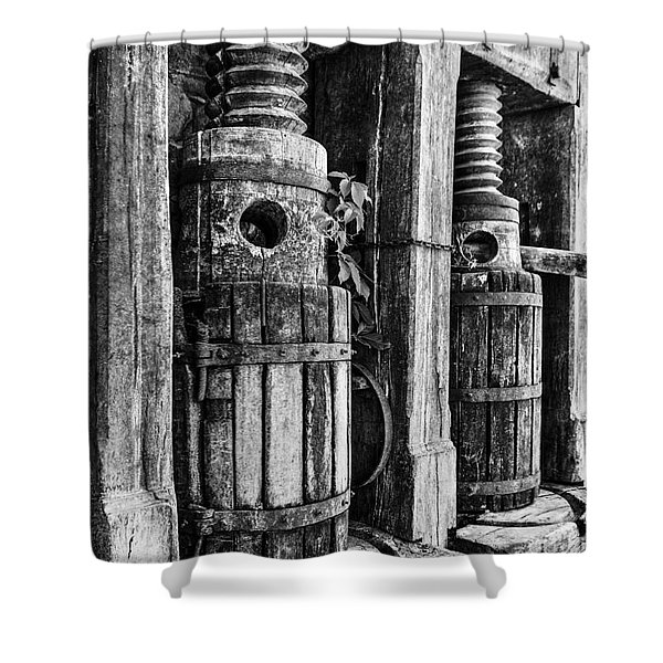 Vintage Wine Press Bw Shower Curtain