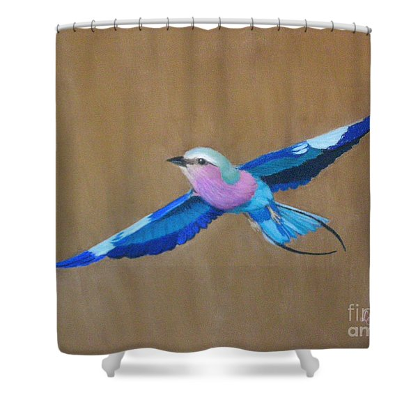 Violet-breasted Roller Bird II Shower Curtain