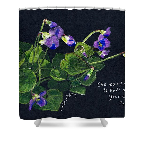 Violets And Psalm 104 Shower Curtain