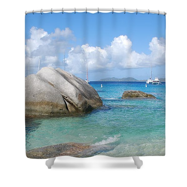 Virgin Islands The Baths With Boats Shower Curtain