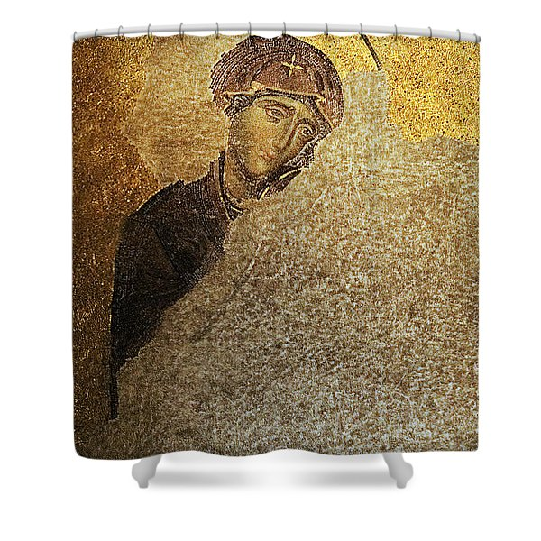 Virgin Mary-detail Of Deesis Mosaic  Hagia Sophia-day Of Judgement Shower Curtain