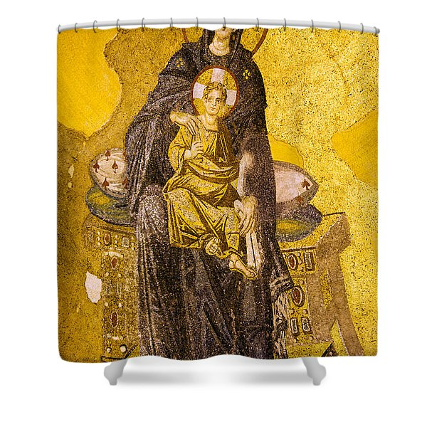 Virgin Mary With Baby Jesus Mosaic Shower Curtain