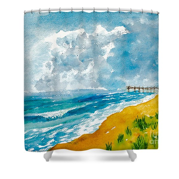 Virginia Beach With Pier Shower Curtain