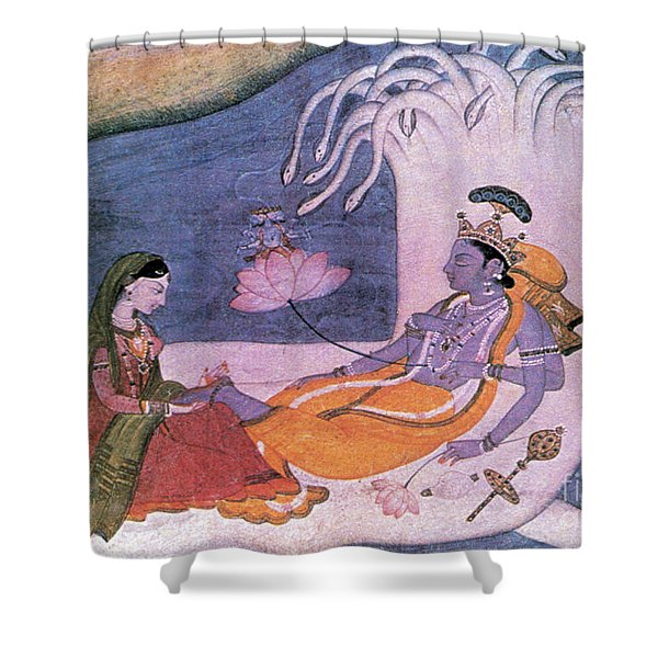 Vishnu And Lakshmi Float Across Cosmos Shower Curtain