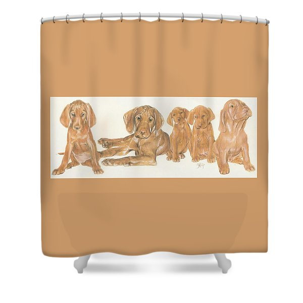 Shower Curtain featuring the mixed media Vizsla Puppies by Barbara Keith