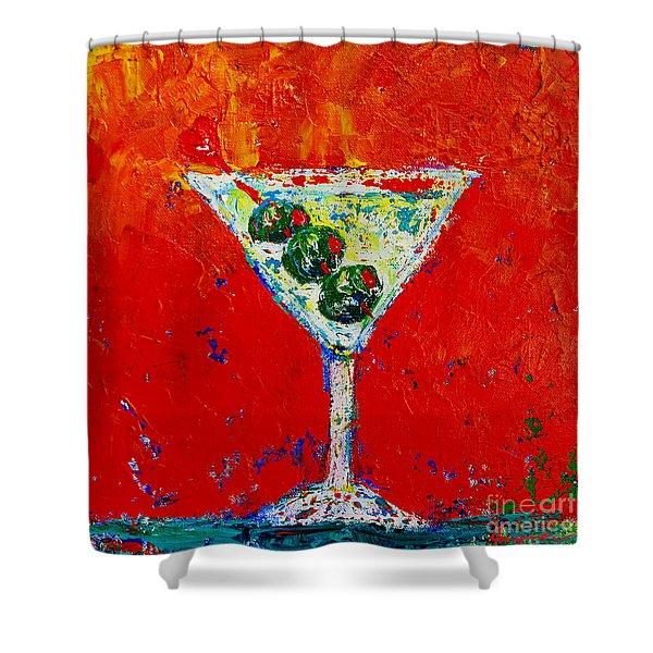Vodka Martini Shaken Not Stirred - Martini Lovers - Modern Art Shower Curtain