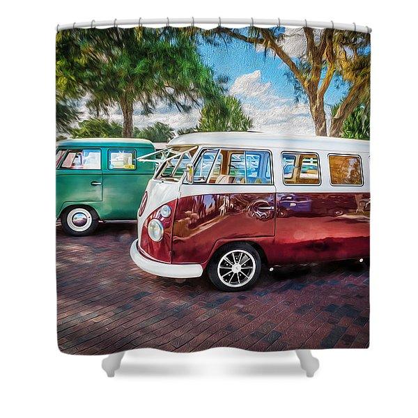 Vw Bus Stop 1964 1961 1968 Vans Trucks Painted Shower Curtain